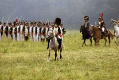 Borodino争斗历史再制定在俄罗斯 战斗场面 图库摄影