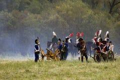 Borodino争斗历史再制定在俄罗斯 战斗场面 免版税库存图片
