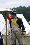 Borodino争斗历史再制定在俄罗斯 法国军队士兵 免版税图库摄影