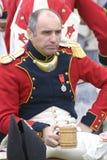 Borodino争斗历史再制定在俄罗斯 法国军队士兵 库存图片