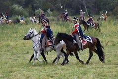 Borodino争斗历史再制定在俄罗斯 免版税图库摄影