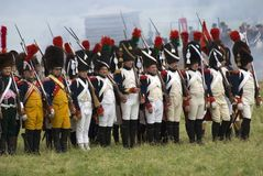 Borodino争斗历史再制定在俄罗斯 库存照片