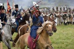 Borodino争斗历史再制定在俄罗斯 库存图片