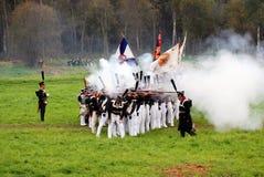 Borodino争斗历史再制定场面 在战场的发烟 免版税图库摄影