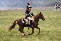 Borodino争斗历史再制定的法国军队战士胸甲骑兵在俄罗斯 免版税库存照片