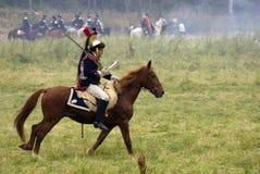 Borodino争斗历史再制定的胸甲骑兵在俄罗斯 库存照片
