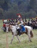 Borodino争斗历史再制定的胸甲骑兵在俄罗斯 图库摄影