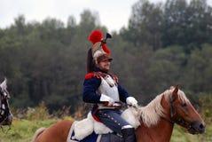 Borodino争斗历史再制定的胸甲骑兵在俄罗斯 免版税图库摄影