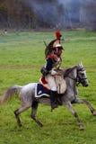 Borodino争斗历史再制定的胸甲骑兵在俄罗斯 免版税库存图片