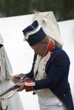 Borodino争斗历史再制定的Reenactor人在俄罗斯 库存照片