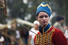 Borodino争斗历史再制定的Reenactor妇女在俄罗斯 库存图片