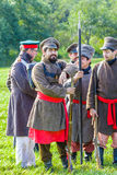 Borodino争斗的再制定在俄语之间的 库存照片