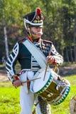Borodino争斗的再制定在俄语之间的 图库摄影