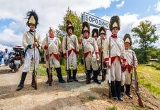 Borodino争斗的再制定在俄语之间的 库存图片
