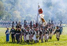 Borodino争斗的再制定在俄语之间的 免版税库存图片