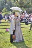 Borodino争斗的重建 亲吻 库存图片