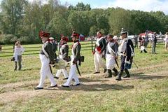 Borodino争斗的重建 免版税库存图片