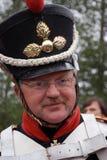 Borodino历史再制定的微笑的战士 免版税库存照片