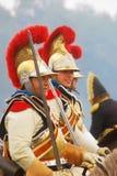 Borodino历史再制定的微笑的胸甲骑兵 免版税库存照片