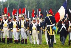 Borodino历史再制定的战士 库存图片