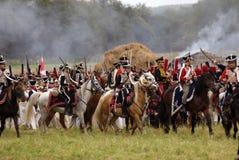 Borodino的俄国军队士兵在俄罗斯作战历史再制定 图库摄影