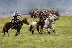 Borodino的俄国军队士兵在俄罗斯作战历史再制定 免版税库存照片