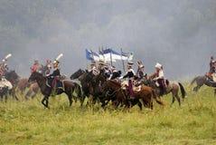 Borodino的俄国军队士兵在俄罗斯作战历史再制定 库存图片