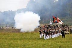 Borodino的俄国军队士兵在俄罗斯作战历史再制定 免版税库存图片