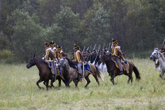 Borodino的俄国军队士兵在俄罗斯作战历史再制定 免版税图库摄影