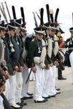 Borodino的俄国军队士兵在俄罗斯作战历史再制定 库存照片