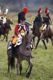 Borodino的军队战士在俄罗斯作战历史再制定 库存照片