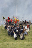 Borodino的军队战士在俄罗斯作战历史再制定 库存图片