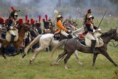 Borodino的法国军队士兵在俄罗斯作战历史再制定 图库摄影