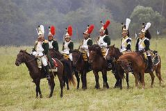 Borodino的法国军队士兵在俄罗斯作战历史再制定 免版税库存图片