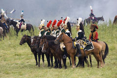 Borodino的法国军队士兵在俄罗斯作战历史再制定 库存照片