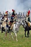 Borodino的法国军队战士胸甲骑兵在俄罗斯作战历史再制定 库存图片