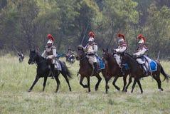 Borodino的胸甲骑兵在俄罗斯作战历史再制定 图库摄影
