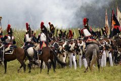 Borodino的胸甲骑兵在俄罗斯作战历史再制定 免版税库存图片