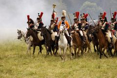 Borodino的胸甲骑兵在俄罗斯作战历史再制定 免版税库存照片