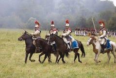 Borodino的胸甲骑兵在俄罗斯作战历史再制定 库存图片