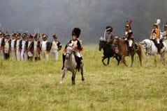 Borodino的胸甲骑兵在俄罗斯作战历史再制定 免版税图库摄影