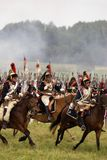 Borodino的胸甲骑兵在俄罗斯作战历史再制定 库存照片