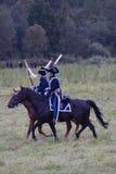 Borodino的Reenactors人在俄罗斯作战历史再制定 免版税库存图片
