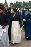 Borodino的Reenactors妇女在俄罗斯作战历史再制定 免版税库存图片