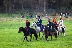 Borodino battle historical reenactment in Russia Royalty Free Stock Photo
