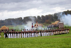 Borodino battle historical reenactment in Russia. Battle panorama Stock Images