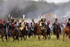 Borodino battle historical reenactment in Russia. Battle scene Royalty Free Stock Image