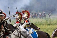 Borodino battle historical reenactment in Russia. Battle scene Royalty Free Stock Images