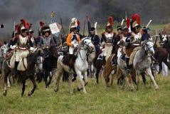 Borodino battle historical reenactment in Russia, Cuirassiers attack Stock Photography