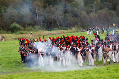 Borodino battle historical reenactment in Russia royalty free stock image